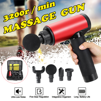 Muscle Therapy Massage Guns 3 Gears Muscle Massager Pain Sport Massage Machine Relax Body Slimming Shaping With 4 Heads+Bag Gift