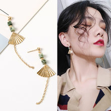 National Style Simple Personality Wild Retro Earrings Korean Temperament Golden Fan-shaped Fan Earrings Female Drop Earrings(China)