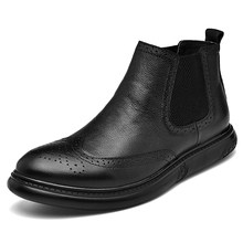 men luxury fashion wedding party dress chelsea boots genuine leather brogue shoes carving bullock shoe black ankle boot man bota(China)
