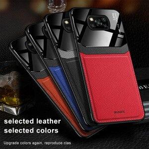 Image 5 - Leather Texture Plexiglass Case For Xiaomi Poco X3 Pro F3 M3 Mi Poxo Pocophone Pocco F M X 3 NFC Silicone Cover Shockproof Coque