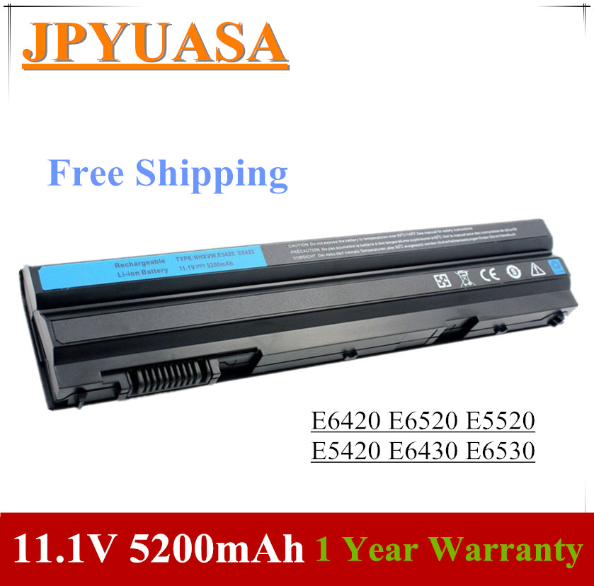 JPYUASA Laptop Battery E6420 E5520 Dell Latitude E6530 T54FJ 5200mah M5Y0X For E6420/E6520/E5520/..