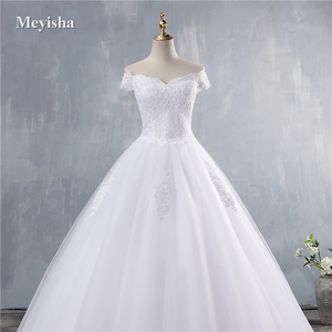 Image 4 - ZJ9143 2019 2020 חדש לבן שנהב אלגנטי כבוי כתף שמלות כלה עבור כלות תחתון תחרה מתוקה עם תחרה קצה בתוספת גודל