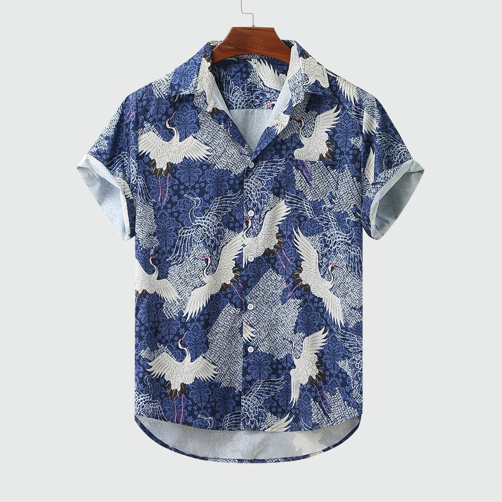 Men's Colorful Summer Short Sleeve Loose Buttons Casual Shirt Blouse Hawaiian Shirts M-3XL Camisas Para Hombre Chemise Homme  #4