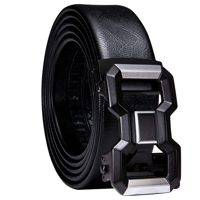 Hi-Tie Famous Brand Belt Men Top Quality Genuine Luxury Leather Belts for Men Strap Male Metal Automatic Buckle Black Belts