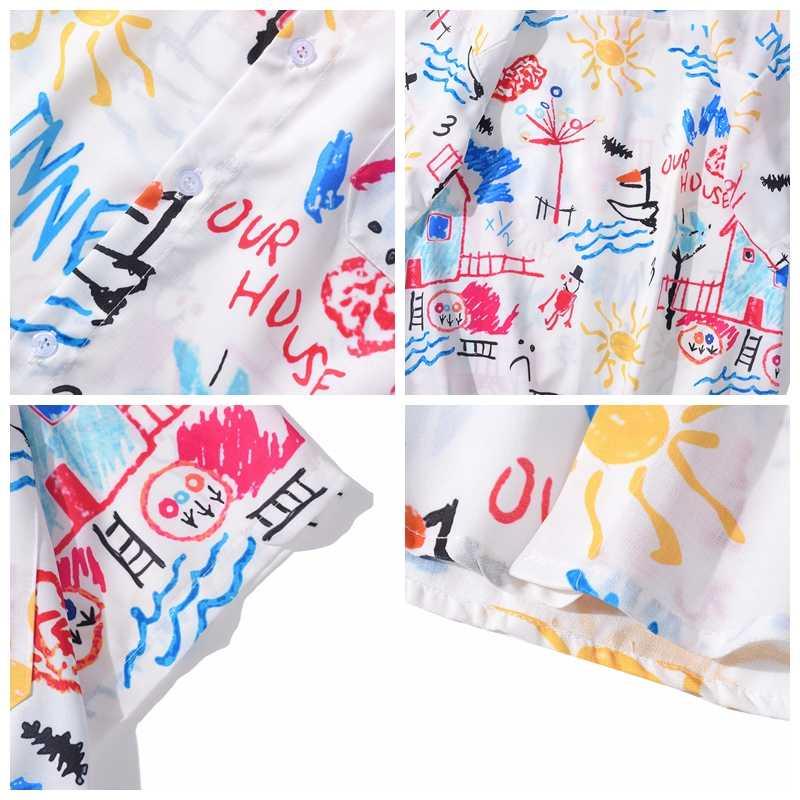 Sommer Hawaiian Shirts Herren Hip Hop Hand Gemalt Graffiti Shirt für Männer Vintage Floral Printed kurzarm Shirts Tops dünne