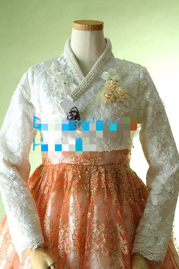 Women Modern Hanbok Dress Custom Made Korean Lace Hanbok High Waist Hanbok