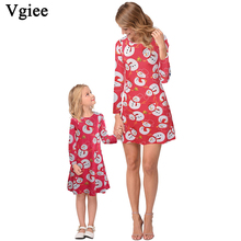 Vgiee Mother Daughter Dresses Girl Christmas Dress Cotton Print Full Pattern for Cartoon Mommy and Me Baby Clothes CC684