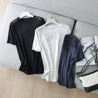 Silk And Cashmere Blend T Shirt 3 Colors Hollow O Neck Solid Summer Casual Tops Silk Knit Short Sleeve Pullover Top New Fashion