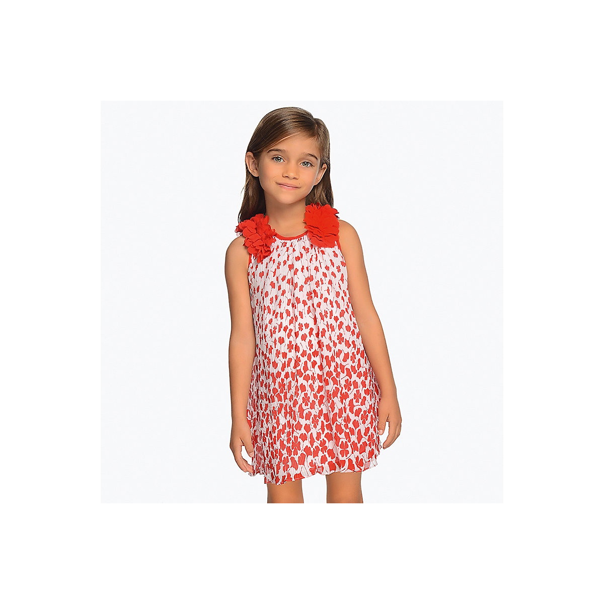 MAYORAL Dresses 10685281 Girl Children Party fitted pleated skirt Red Polyester Preppy Style Print Knee-Length Sleeveless Sleeve girl print drawstring top