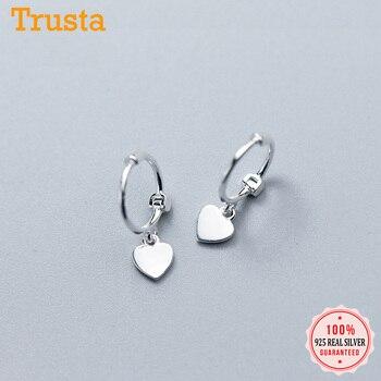 Trusta 925 Solid Sterling Silver Earrings Women Fashion Heart/Star Small Love Stud Ear Clip Jewelry Gift for Teen Girls DS904 - discount item  30% OFF Fine Jewelry