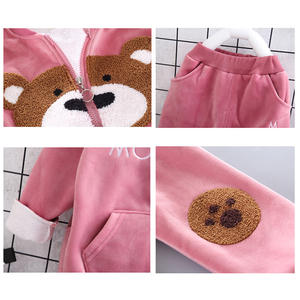 Image 5 - Ensemble de vêtements dhiver en polaire pour bébés, garçons et filles, tenue dours de dessin animé, Costume chaud pour enfants, 2020