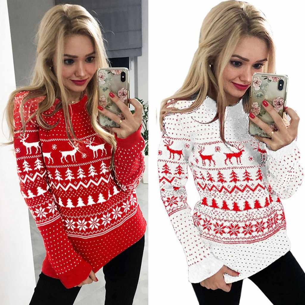 Christmas sweater women Xmas Christmas Print Long Sleeve  Shirt Pullover pull sexy femme sueter mujer invierno 2019