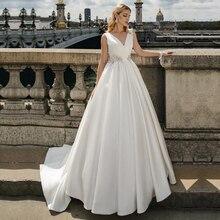 Unique Satin V neck A line Wedding Dresses With Beadings Wedding Gowns Sleeveless Vestido de Noiva Custom Made Ball Gown