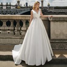 ייחודי סאטן V צוואר אונליין שמלות כלה עם Beadings חתונת שמלות ללא שרוולים Vestido דה Noiva תפור לפי מידה כדור שמלה