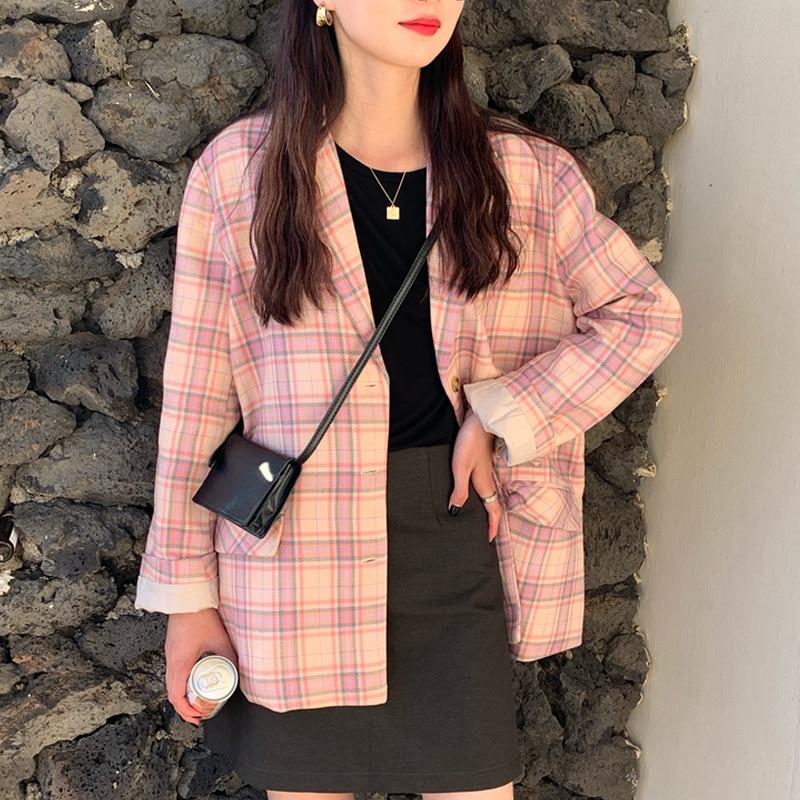 Korean Women Autumn Winter Pink Plaid Blazer Coat Split Long Sleeve Outer Wear Jacket With Buttton Pocket Veste Femme Plus Size