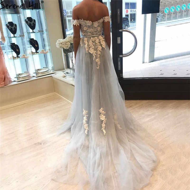 שלווה היל האחרון אור כחול בעבודת יד פרחי שמלת ערב 2020 בת ים כבוי כתף סקסי צד פורמלי אופנה שמלת CLA70012