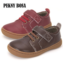 Genuine Leather kids shoes children casual boys shoes girls leather shoes boys sneakers coffee brown and red shoes size 31 35