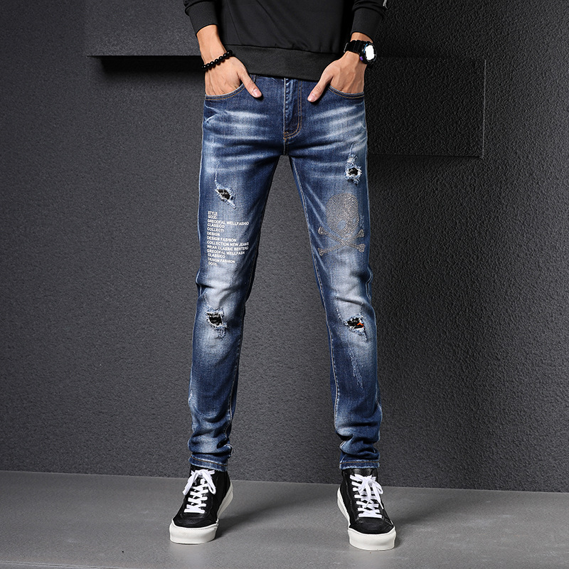 Big Brand Diamond Jeans Men's Harem Men Cowboy Europe And America Wild With Holes Jeans Men's A Grant From