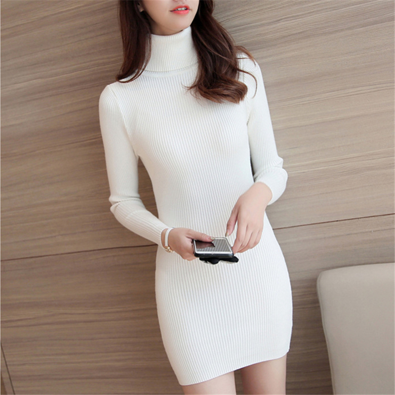 Sweater Dress 2019 White Turtleneck Sweater Ladies Long Pullover Knitted Soft Chunky Sweater Winter Clothes Korean Sweaters