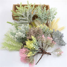 1 pcsmulación planta verde hoja de eucalipto imitación rama seca artificial flor falsa boda fotografía prop decoración del hogar