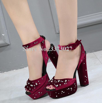 New Crystal Chunky Heel Platform Sandals Women Sexy Peep Toe Wine Red Rhinestone Wedding Shoes Lady Popular Banquet Shoes