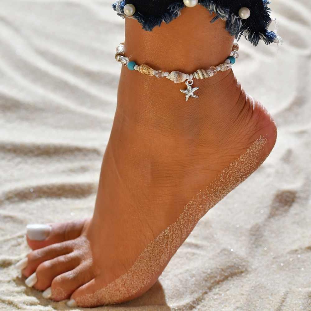 Anklets สำหรับผู้หญิง shell เครื่องประดับฤดูร้อนชายหาดสร้อยข้อมือข้อเท้าขาข้อเท้าโบฮีเมียนอุปกรณ์เสริม