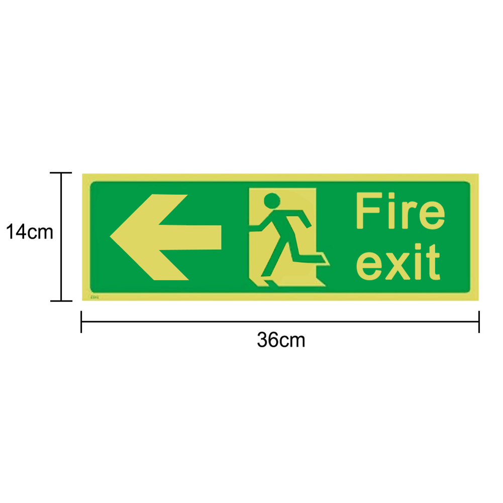 8pcs Photoluminescent Fire Exit Sign 300x100mm Plastic All Direction Arrows GY88