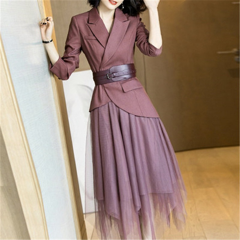 Women's Suit Autumn New Fashion Slim Waist Weight Loss Belt Suit Large Size Temperament Elastic Waist Skirt