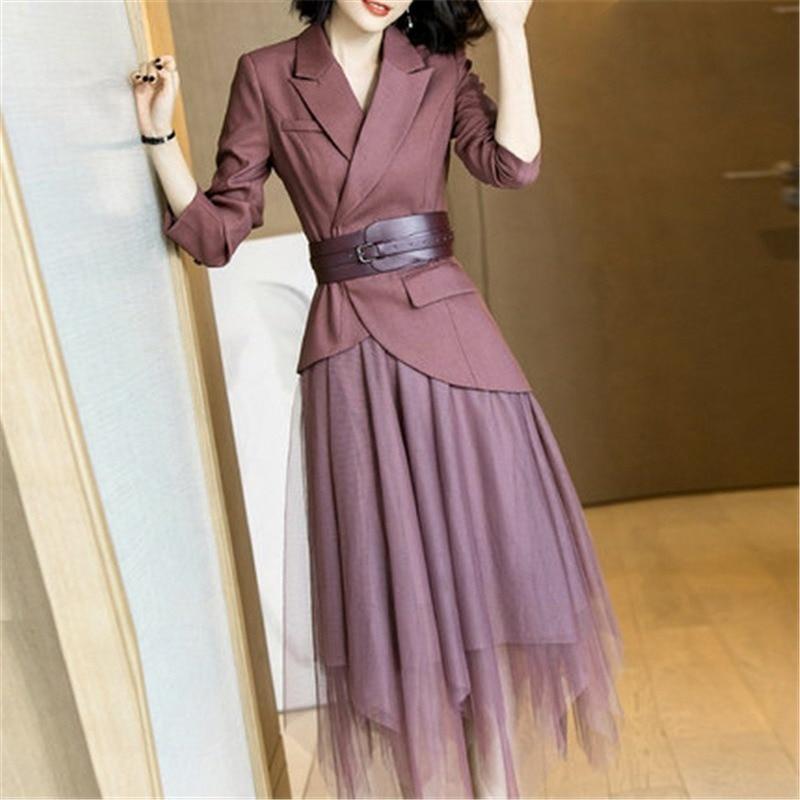 Women's Suit Autumn New Fashion Slim Waist Weight Loss Belt Suit Large Size Temperament Elastic Waist Skirt