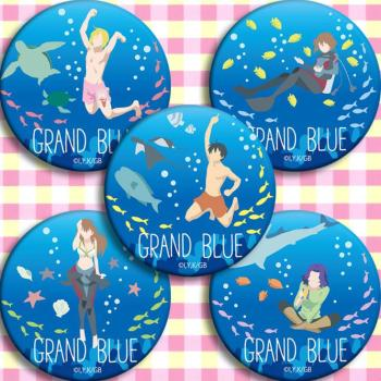 5pcs/1lot Anime Grand Blue Iori Kitahara Chisa Kotegawa Nanaka Kotegawa Figure 5021 Badges Round Brooch Pin Gifts Kids Toy image