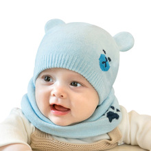 2019 Winter Baby Hat Set 2Pcs/lot Cap & Bibs Suit Warm Knitted Beanie Cartoon Bear Newborn Photography Props For Infant
