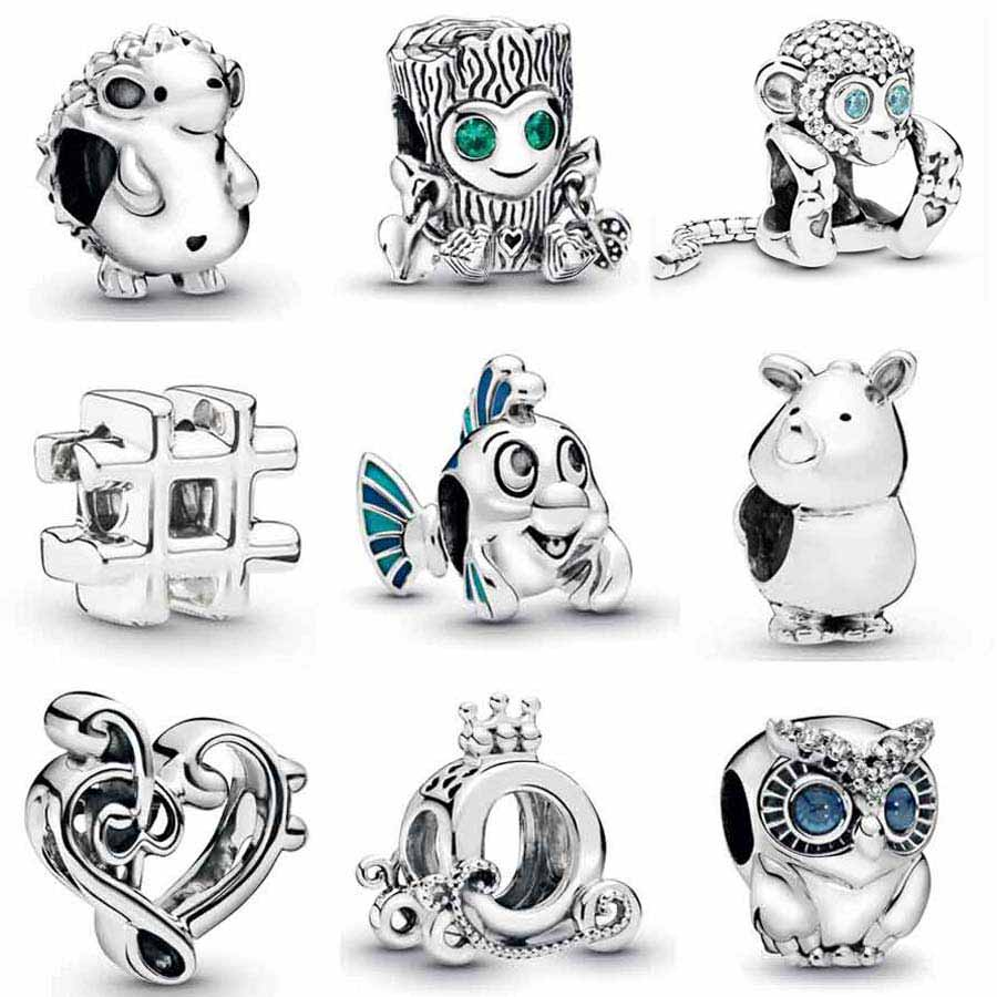 Sparkling Monkey Owl Mermaid Flounder Tree Monster Carriage Beads 925 Sterling Silver Charm Fit Pandora Bracelet Diy Jewelry(China)