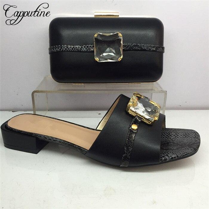 Ensemble de fête populaire noir correspondant chaussures à talon inférieur et sac pour dames GY40, hauteur du talon 3cm