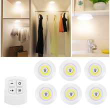 LED Under Cabinet Counter Lightแบตเตอรี่ดำเนินการหรี่แสงได้Puck Lightingตู้เสื้อผ้าไฟรีโมทคอนโทรลสำหรับตู้เสื้อผ้าห้องครัว