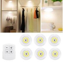 캐비닛 카운터 라이트 아래 LED 배터리 작동 디 밍이 가능한 퍽 조명 옷장 조명 옷장 주방에 대 한 원격 제어