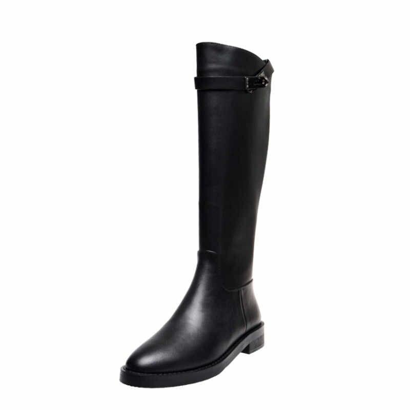 Prova Perfetto 2020 siyah Martin diz yüksek çizmeler el yapımı serin peluş kadın uzun çizmeler kayma düz toka deri çizmeler