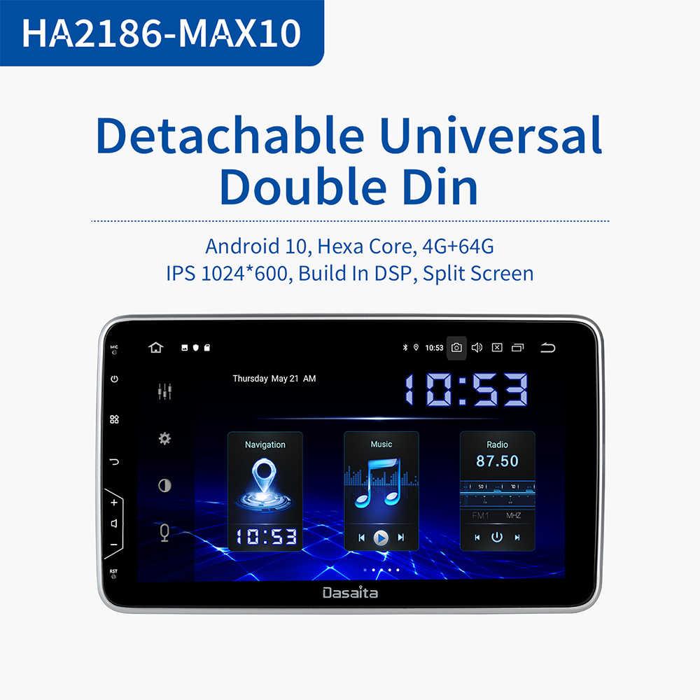 "Dasaita 10.2 ""Car 2 Din Autoradio Android 10.0 Universale Car Multimedia Player per Nissan Toyota Radio di Navigazione GPS Bluetooth"