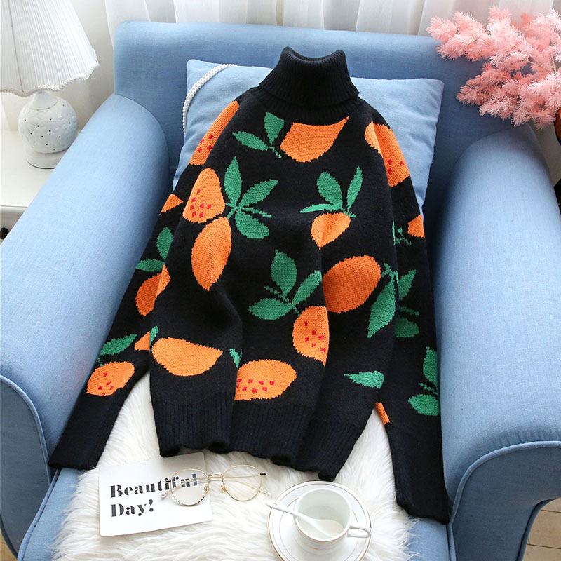 2019 winter new turtleneck women sweater and pullovers floral slim thicken warm lady elegant pulls fashion outwear coat tops