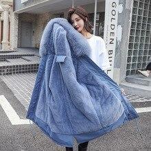 Winter Coat Faux Fur Coats Rabbit Fur Snow Wear Hood Overknee Down Cotton Thick Cotton-padded Loose Women Jackets Parka Ukraine цены онлайн