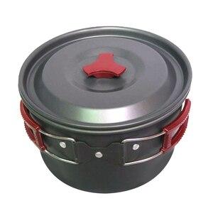 Image 3 - 3l 19*11 cm liga de alumínio ao ar livre acampamento pote panelas piquenique pratos portátil único pan pot utensílios de mesa ao ar livre caminhadas