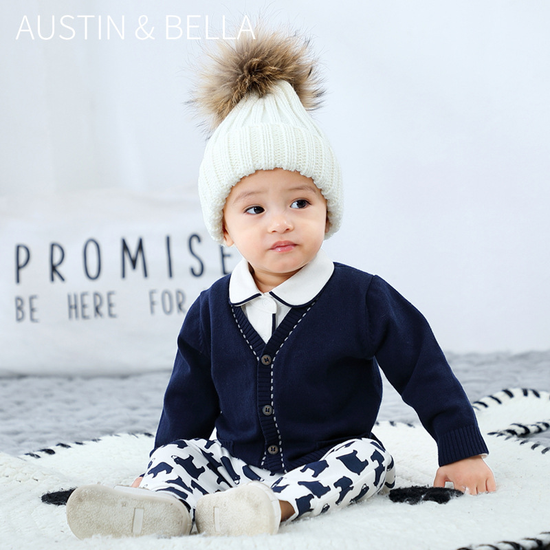 3-24M Baby Clothes Cotton Knit Cardigan Boys Spring and Autumn Sweater Toddlers Blue Coat Newborns Jackets Children's Clothing