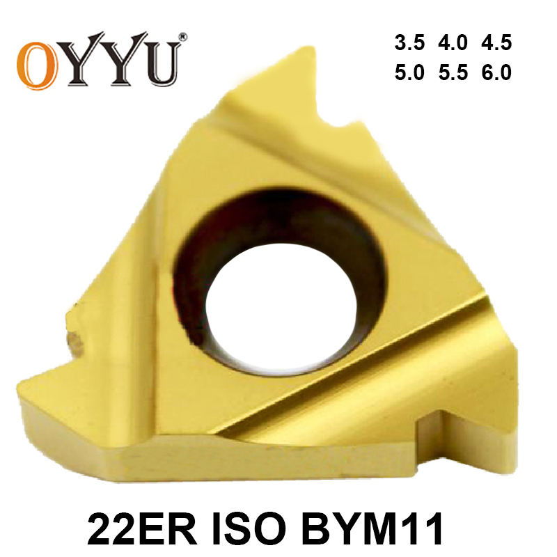 OYYU 10pcs 22ER 3.5ISO 4.0ISO 4.5ISO 5.0ISO 5.5ISO 6.0ISO BYM11 22 ER 3.5 4.0 4.5 5.0 5.5 6.0 ISO Carbide Inserts Turning Tool