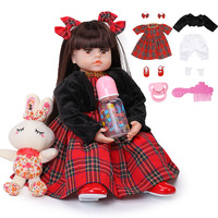 Newest Toys 48cm Reborn Baby Dolls Soft Silicone Realistic Princess Girl Baby Doll Ethnic Doll Kid Birthday Xmas Gift Playmate