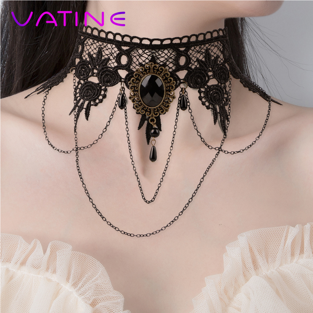 VATINE Sexy Necklace Rhinestone Collar Bound Slave Restraints Cosplay Fetsih Necklace Sex Toys For Couple Adult Game