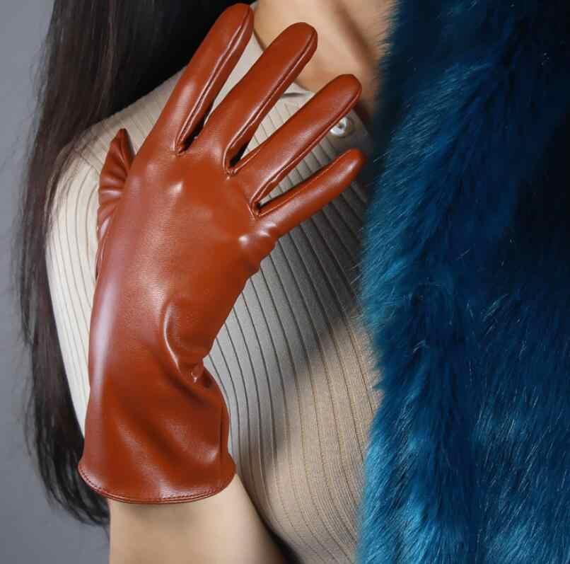 여자 패션 섹시 슬림 가짜 pu 가죽 장갑 레이디의 클럽 성능 공식 파티 가죽 짧은 갈색 장갑 21cm r2048
