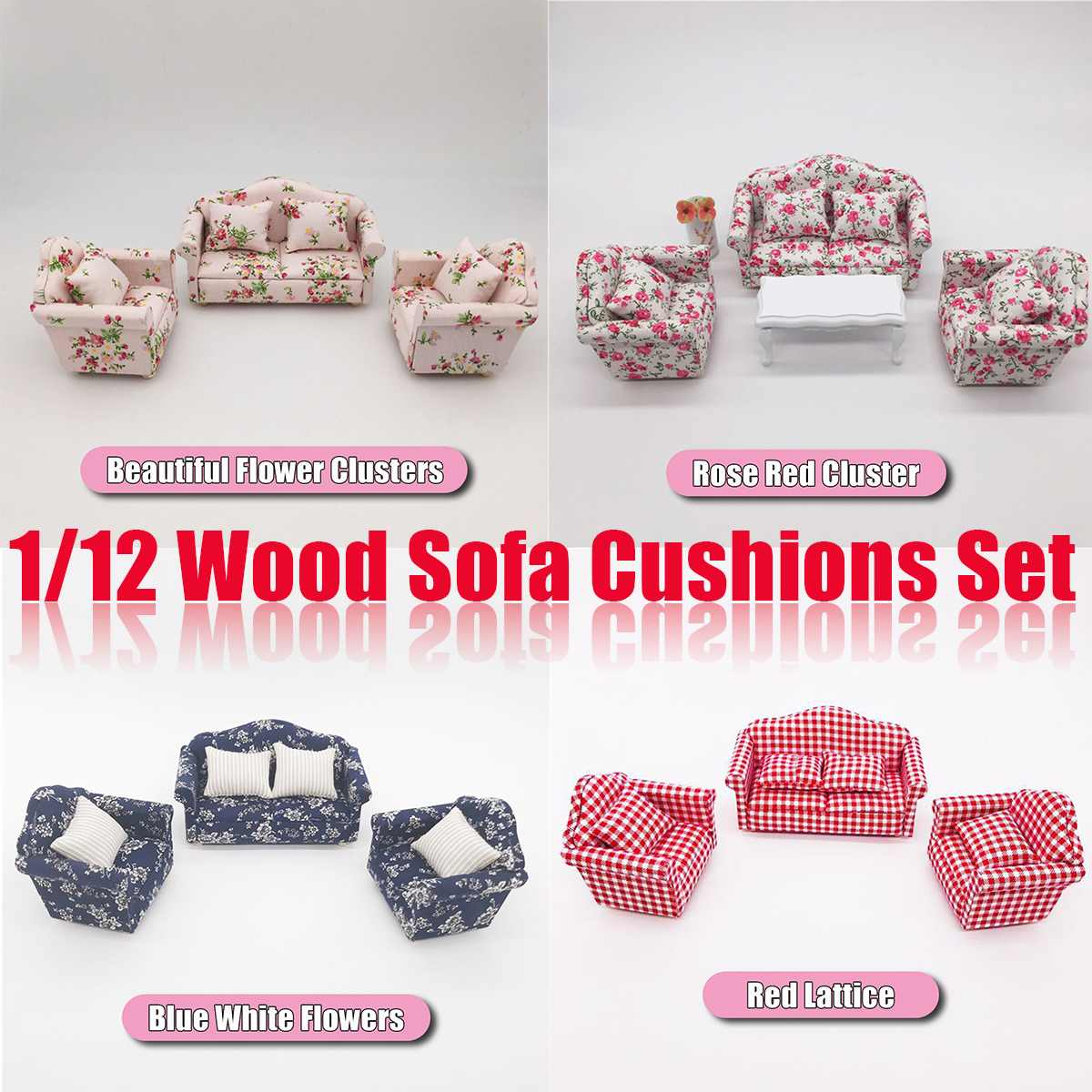 <font><b>1</b></font>/<font><b>12</b></font> Dollhouse Miniature <font><b>Accessories</b></font> Mini Wooden Cloth Sofa Set with Pillow Simulation Furniture Toys for <font><b>Doll</b></font> <font><b>House</b></font> Decoration image
