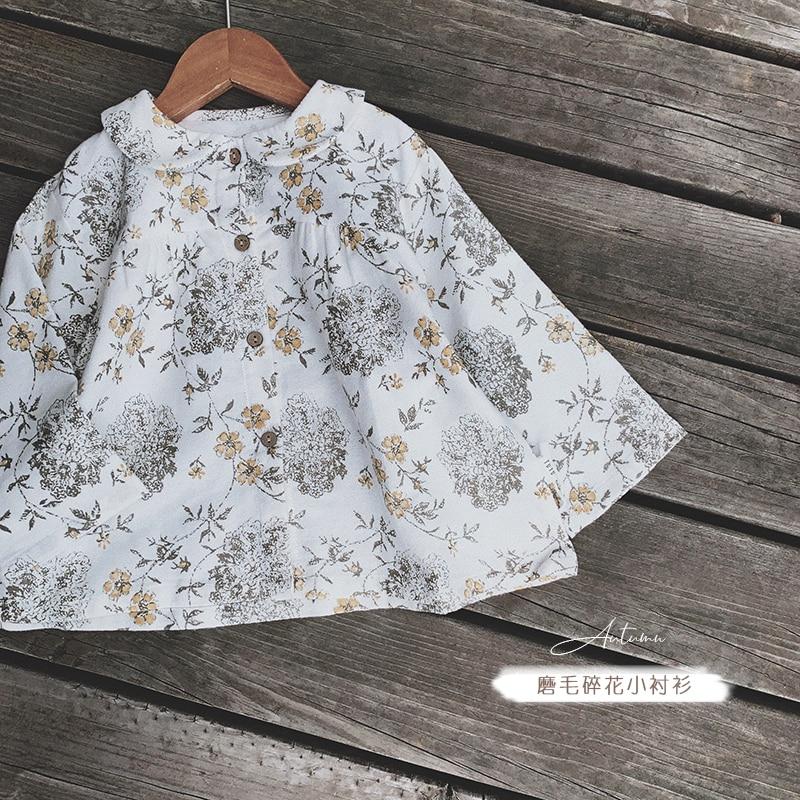 2019 girls autumn lapel long-sleeved floral T-shirt