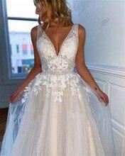 2020 New simple Wedding Dresses V-Neck Backless Appliques Cheap Bridal Gowns Elegant Bride vestido de noiva