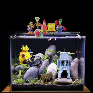 Mini Aquarium Simulatie Decoratie Spongebob Ananas Huis Squidward Paaseiland Aquarium Cartoon Decoratie Voor Kids(China)