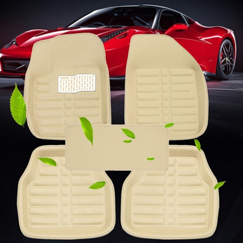 5Pcs/set universal beige car auto floor mats floor liner leather carpet title=